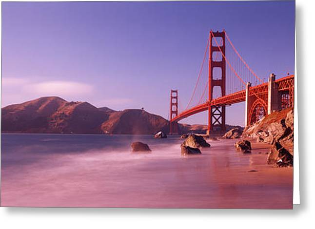 Panoramic Ocean Greeting Cards - Bridge Across A Sea, Golden Gate Greeting Card by Panoramic Images