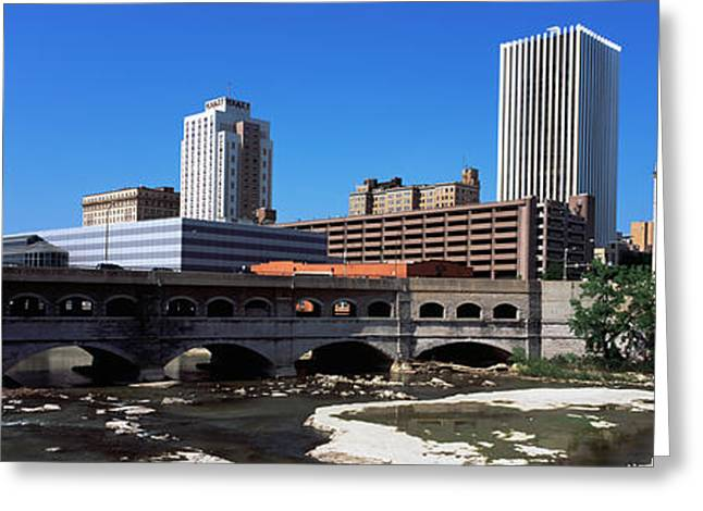 Rochester Skyline Greeting Cards - Bridge Across The Genesee River Greeting Card by Panoramic Images