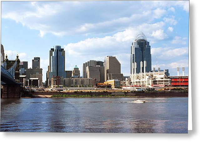 River Photography Greeting Cards - Bridge Across The Ohio River Greeting Card by Panoramic Images