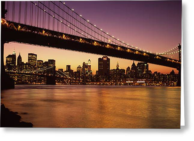 Illuminate Greeting Cards - Bridge Across The River, Manhattan Greeting Card by Panoramic Images