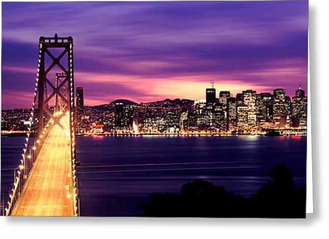Waterways Greeting Cards - Bridge Lit Up At Dusk, Bay Bridge, San Greeting Card by Panoramic Images