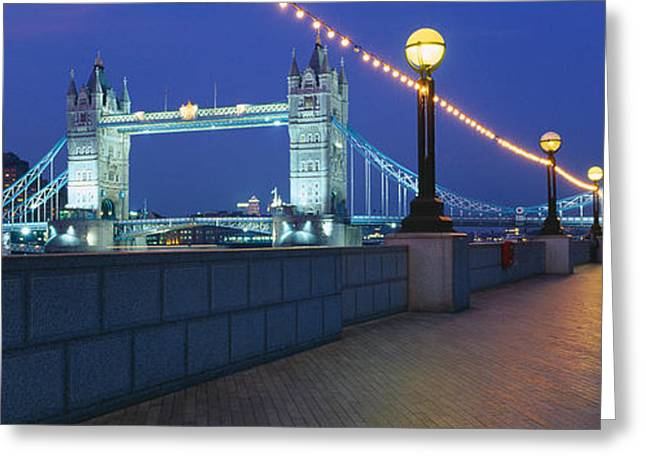 Famous Bridge Greeting Cards - Bridge Lit Up At Night, Tower Bridge Greeting Card by Panoramic Images