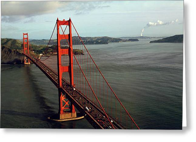 San Francisco Bay Greeting Cards - Bridge Over A Bay, Golden Gate Bridge Greeting Card by Panoramic Images