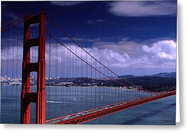 Famous Bridge Greeting Cards - Bridge Over A River, Golden Gate Greeting Card by Panoramic Images
