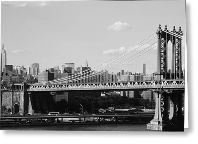 Famous Bridge Greeting Cards - Bridge Over A River, Manhattan Bridge Greeting Card by Panoramic Images