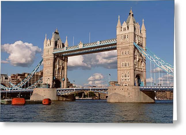 Drawbridge Greeting Cards - Bridge Over A River, Tower Bridge Greeting Card by Panoramic Images