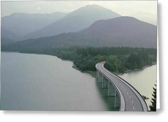 Bavaria Greeting Cards - Bridge Over Sylvenstein Lake, Bavaria Greeting Card by Panoramic Images
