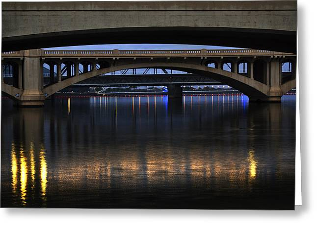 Asu Greeting Cards - Bridge Reflections Greeting Card by Dave Dilli