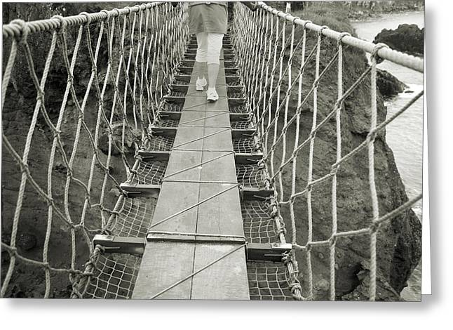 Modern Day Ruins Greeting Cards - Bridge Walk Carrick-a-Rede Northern Ireland Greeting Card by Betsy A  Cutler