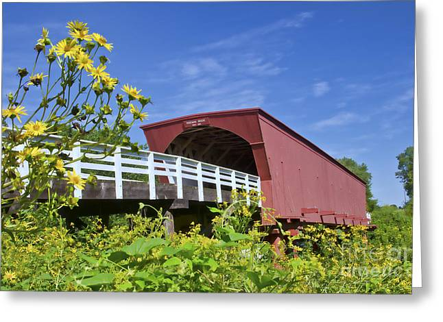 Bridge Of Flowers Greeting Cards - Bridges Of Madison County And Roseman Greeting Card by Bill Bachmann