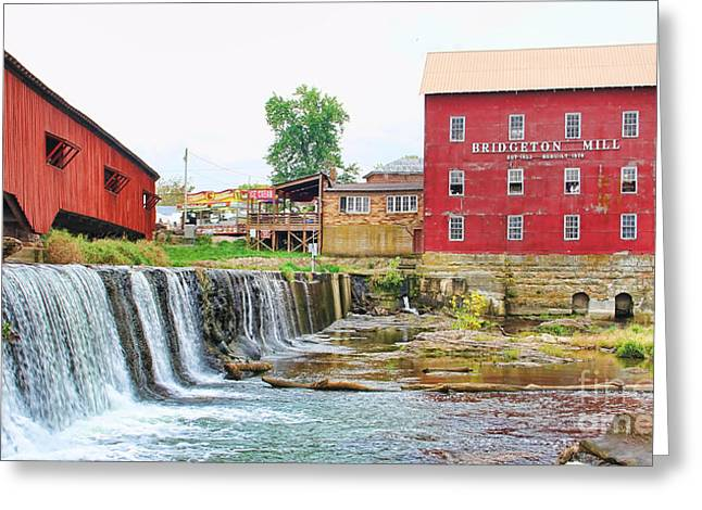 Bridgeton Mill Greeting Cards - Bridgeton Mill and Covered Bridge Greeting Card by Jack Schultz