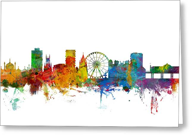 Skyline Greeting Cards - Brighton England Skyline Greeting Card by Michael Tompsett