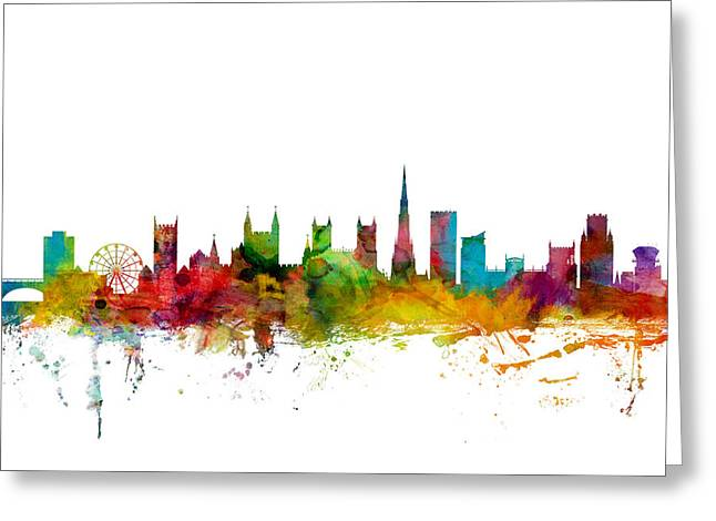 Great Britain Greeting Cards - Bristol England Skyline Greeting Card by Michael Tompsett