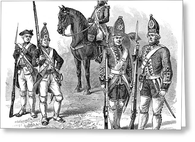 1770s Greeting Cards - British & Hessian Soldiers Greeting Card by Granger