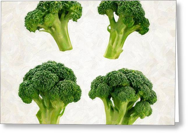 Broccoli Greeting Cards - Broccoli Isolated on White Greeting Card by Danny Smythe