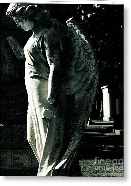 Catholic Art Greeting Cards - Broken Angel Greeting Card by Sonja Quintero