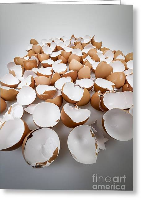 Cracked Eggs Greeting Cards - Broken eggshells Greeting Card by Elena Elisseeva