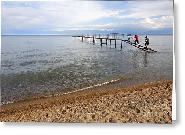 Broken Pier At Lake Issyk Kul In Kyrgyzstan Greeting Card by Robert Preston