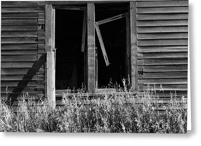 Abandoned Houses Greeting Cards - Broken Window on Abandoned House Greeting Card by Donald  Erickson