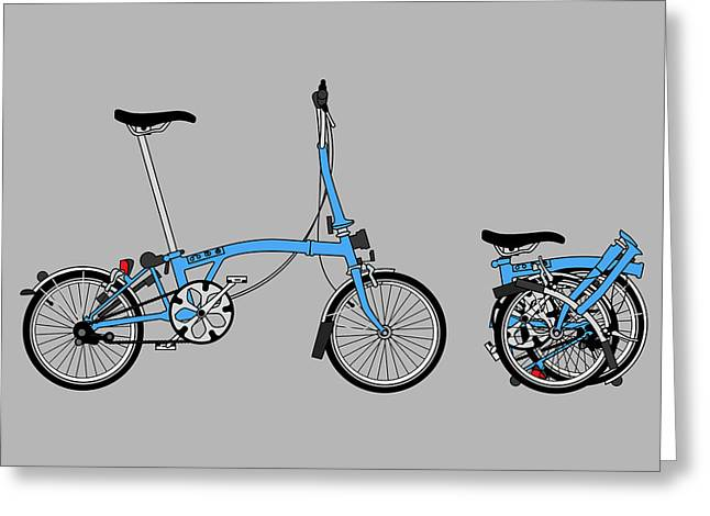 Blue Bike Greeting Cards - Brompton Bicycle Greeting Card by Andy Scullion