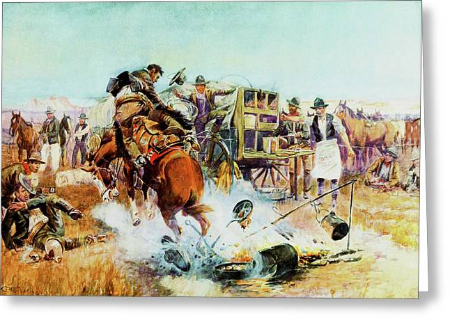 Bucking Bronco Greeting Cards - Bronc For Breakfast Greeting Card by Charles Russell