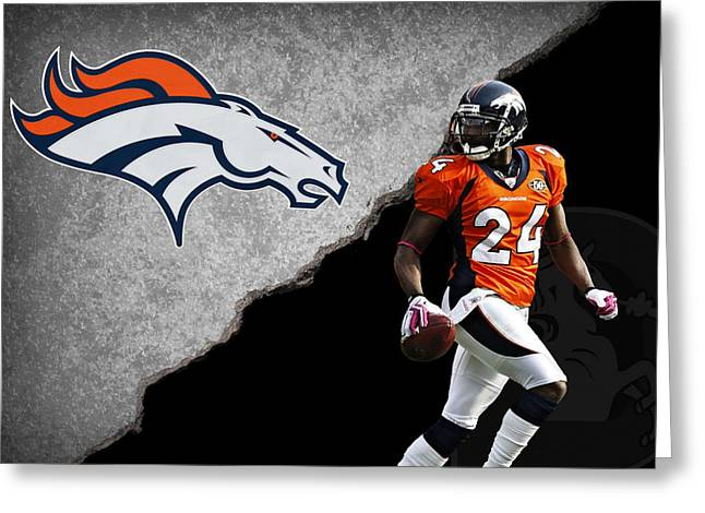 Champs Photographs Greeting Cards - Broncos Champ Bailey Greeting Card by Joe Hamilton
