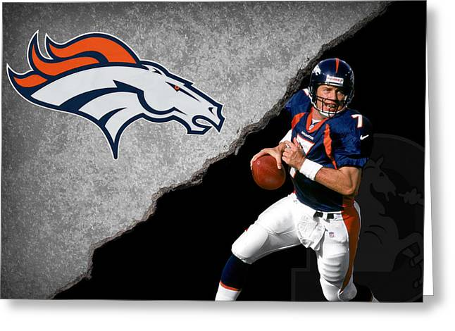 Elway Greeting Cards - Broncos John Elway Greeting Card by Joe Hamilton