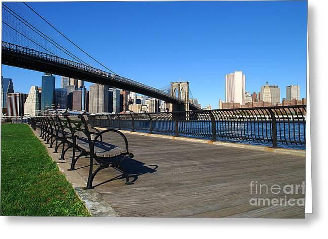 Knicks Greeting Cards - Brooklyn Bridge 5 Greeting Card by Bob Stone