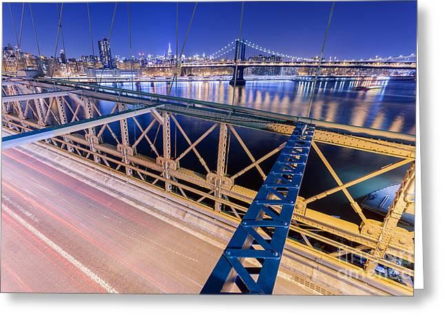 Illuminate Greeting Cards - Brooklyn Bridge And Manhattan Bridge In New York At Night Greeting Card by BM Noskowski