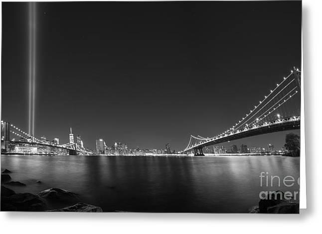 Manhatan Greeting Cards - Brooklyn Bridge and Manhattan Bridge Pano Greeting Card by Michael Ver Sprill