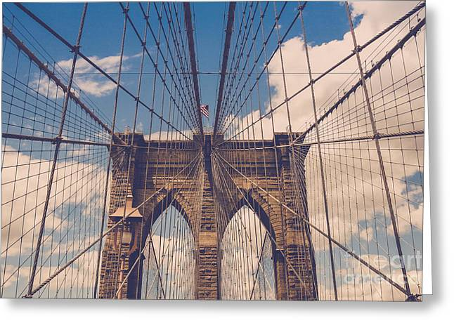 Famous Bridge Greeting Cards - Brooklyn Bridge Greeting Card by Diane Diederich