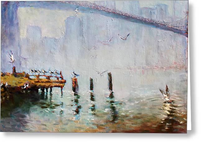 Manhattan Greeting Cards - Brooklyn Bridge in a Foggy Morning   Greeting Card by Ylli Haruni