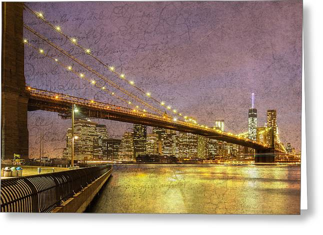 Rope Pyrography Greeting Cards - Brooklyn Bridge Greeting Card by Rob Van Esch