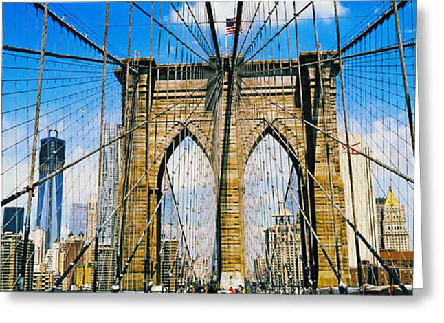 Freedom Towers Greeting Cards - Brooklyn Bridge With Freedom Tower, New Greeting Card by Panoramic Images