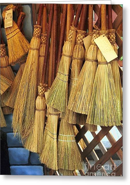 Broom Greeting Cards - Brooms For Sale Greeting Card by David Smith