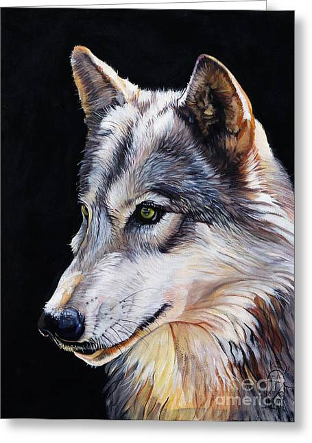 Spirit Guide Greeting Cards - Brother Wolf Greeting Card by J W Baker