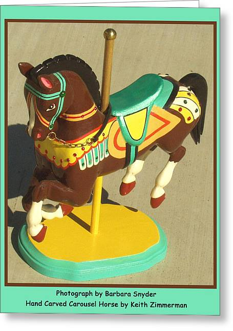 Wood Carving Digital Art Greeting Cards - Brown Carousel Horse Greeting Card by Barbara Snyder and Keith Zimmerman