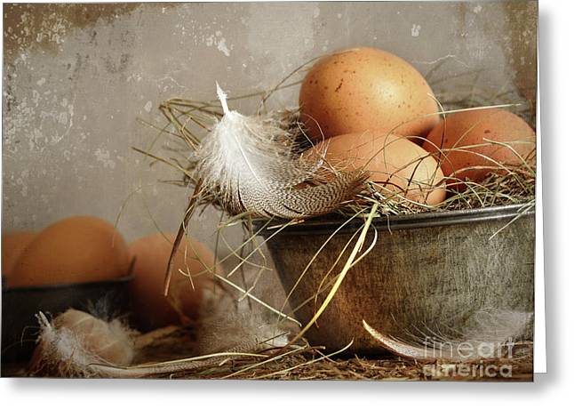 Brown Speckled Eggs  In Old Tin Bowl Greeting Card by Sandra Cunningham