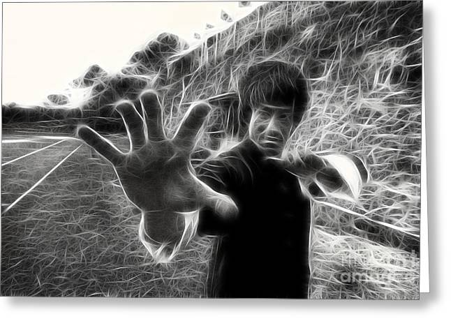 Enter The Dragon Greeting Cards - Bruce Lee Greeting Card by Michael Braham