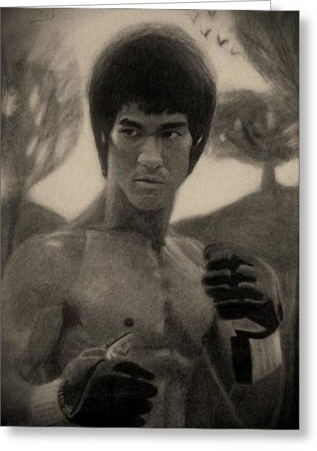 Enter The Dragon Greeting Cards - Bruce Lee - Sepia Greeting Card by Vishvesh Tadsare
