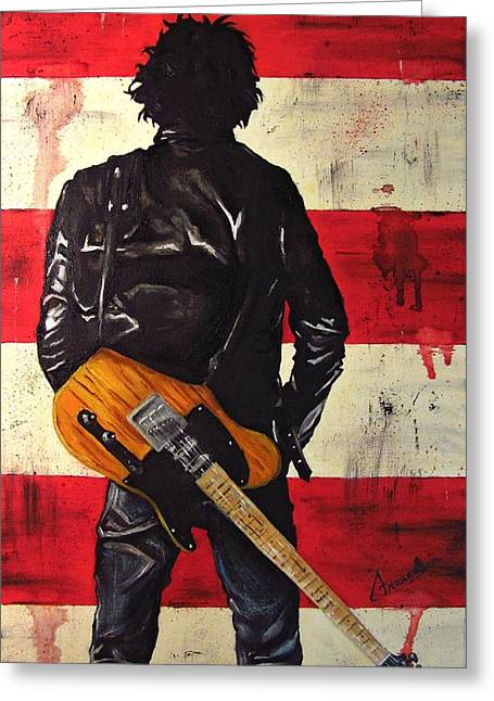 Recently Sold -  - Bruce Springsteen Paintings Greeting Cards - Bruce Springsteen Greeting Card by Francesca Agostini