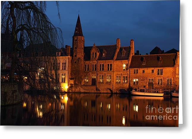 Rosary Greeting Cards - Bruges Rozenhoedkaai Night Scene Greeting Card by Kiril Stanchev