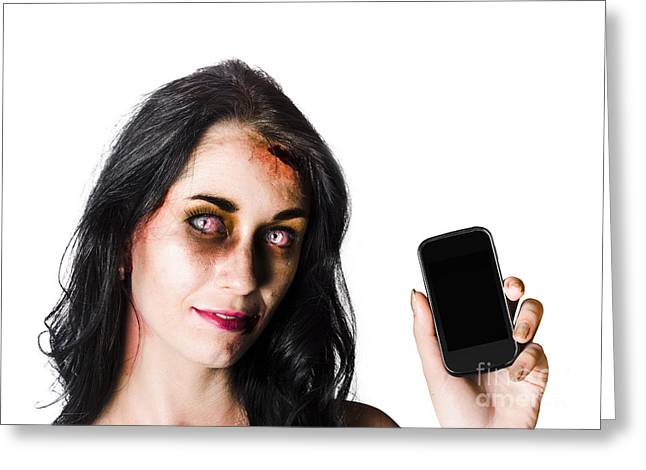 Cellphone Greeting Cards - Bruised Zombie Woman with Cell Phone Greeting Card by Ryan Jorgensen