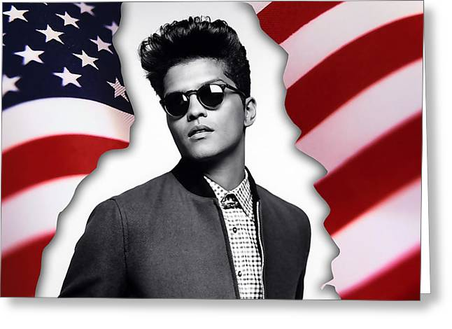 Wall Greeting Cards - Bruno Mars Greeting Card by Marvin Blaine