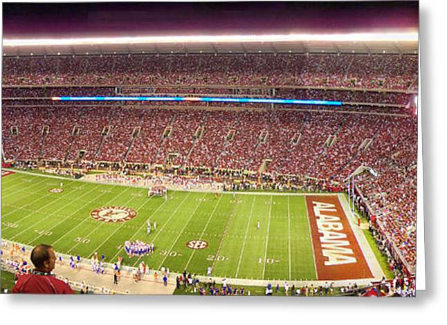 University Of Alabama Greeting Cards - Bryant Denny Stadium Greeting Card by Nomad Art And  Design