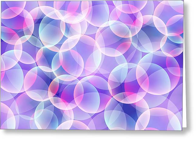 Recently Sold -  - Purple Abstract Greeting Cards - Bubbles abstract background Greeting Card by Toots Hallam