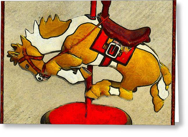 Wood Sculpture Greeting Cards - Bucking Bronco Carousel Horse Greeting Card by Barbara Snyder and Keith Zimmerman