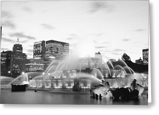 Light Show Greeting Cards - Buckingham Fountain, Grant Park Greeting Card by Panoramic Images