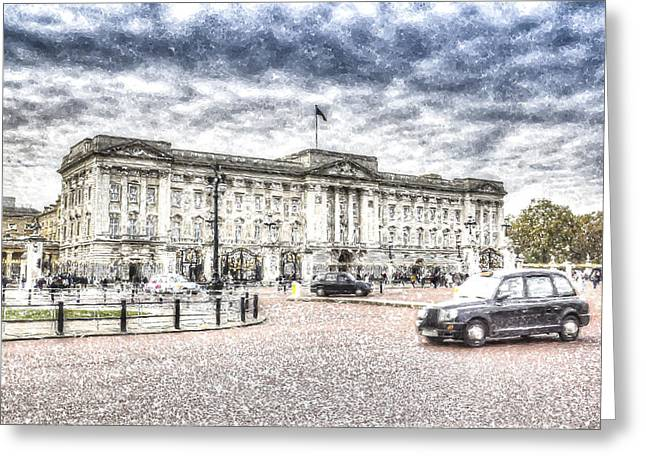 Family Buckingham Palace Greeting Cards - Buckingham Palace Snow Greeting Card by David Pyatt