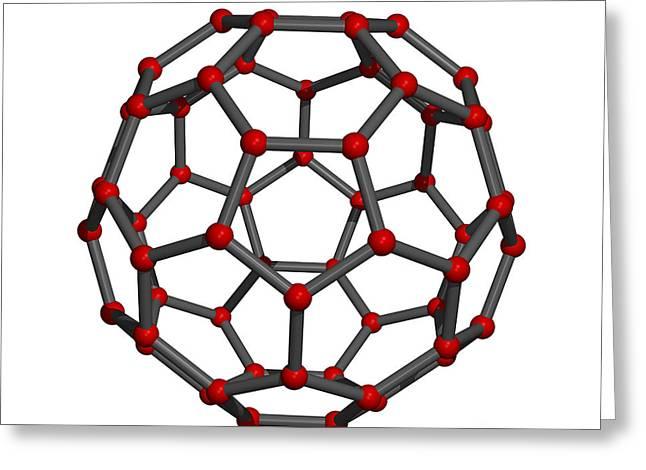 Truncated Greeting Cards - Buckminsterfullerene Molecule Greeting Card by Friedrich Saurer